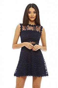 AX Paris Womens Lace Crochet Skater DressNavy Size10 >>> You can get additional details at the image link.