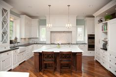 Hardwood diagonal inlay   Oakley Home Builders - traditional - kitchen - chicago - Oakley Home Builders