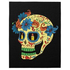 Blue Flower Eyes Day Of The Dead Sugar Skull Puzzle