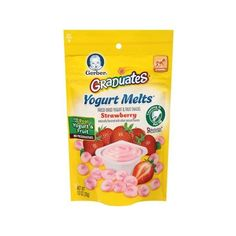 Gerber Graduates Yogurt Melts Freeze-Dried Yogurt and Fruit Snacks, Strawberry, Naturally Flavored with Other Natural Flavors, 1 ounce, 1 count Walmart.com found on Polyvore featuring food