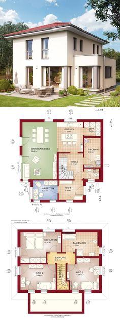 Stadtvilla modern Neubau mit Walmdach Architektur & Erker Anbau - Einfamilienhaus bauen Grundriss offen mit Windfang Haus Edition 3 V8 Bien Zenker Fertighaus - HausbauDirekt.de