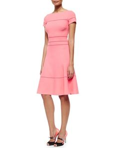 Hemstitched Fit-And-Flare Dress by Carolina Herrera at Neiman Marcus.