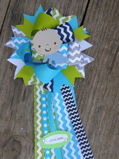 baby shower corsage chevron by bonbow, $18.99