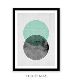 Geometrische Kunst Kreis Print mintgrün und schwarz von lilandlola