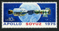 The US Postal Service issued this setenant pair of two 10-cent multicolored stamps on July 15, 1975, at Kennedy Space Center, Florida. The Soviet Union released stamps of similar design (Russia Scott 4339-4340) at the same time. This denomination paid the domestic first-class rate for letters weighing less than half ounce.