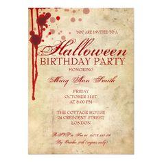 Vampire Birthday Invitations Halloween Birthday Party Card