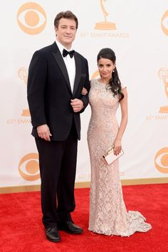 Nathan Fillion and Mikaela Hoover 65° Emmy Awards 2013