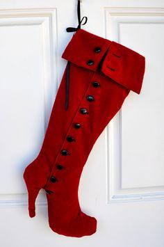 red Christmas stocking high heel fashion boot wall decoration shoe stockings.. $45.00, via Etsy.