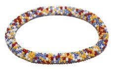 Glass Bracelet Nepal Bracelet Roll on Bracelet Crochet Bracelet Glass Bead Bracelet Friendship Bracelet 371