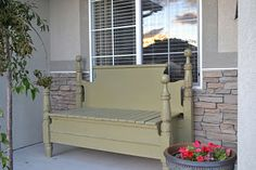 old bed bench. New use for old Head board & foot board.