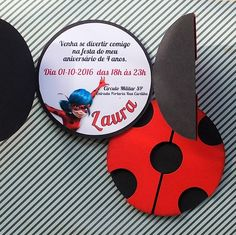 Miraculous invitation to Ladybug& themed party, produced on high quality paper . - Miraculous invitation for Ladybug& themed party, produced on heavy paper with professional cu - Ladybug Invitations, Fun Wedding Invitations, Birthday Party Invitations, Party Favors, Birthday Crafts, 4th Birthday Parties, Girl Birthday, Frozen Birthday, Miraculous Ladybug Party