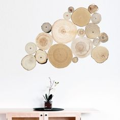 Whether you are looking for some final touches to your chic decor or want a centerpiece to design a room around, these Split Log wall decals will step things up a notch. These unique and modern wood i Feature Wallpaper, Perfect Wallpaper, Log Wall, Tree Wall, Handmade Design, Vinyl Wall Decals, Wall Sticker, Tree Branches, Birch Trees