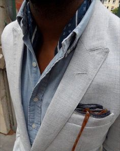 http://chicerman.com  completewealthmag:  Complete Wealth Mag  Filed under: Chambrays Blazers Neckerchiefs Pocket squares  #summerlook