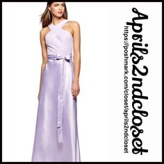 """Lilac Long Party Dress Halter Chiffon Gown NEW WITH TAGS RETAIL PRICE: $238  Absolutely gorgeous!  Lilac Long Party Dress Halter Chiffon Gown  * Crisscross halter front & back straps  * Chiffon top & satin bottom, semi pleated   * Hidden back zipper & hook-and-eye closure  * Measure about 55"""" long  * Tagged size 6(S) will approx fit sizes 4-6    Fabric: 95% polyester & 5% spandex # pastel No Trades ✅ Offers Considered*/Bundle Discounts✅  *Please use the 'offer' button to submit an offer…"""