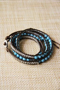 Turquoise and Silver Beads with Brown Wrap Bracelet