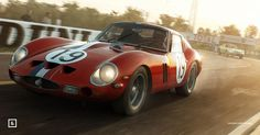 Not sterling without #Stirling / 24 Hours of #LeMans 1962. As the early morning sun pulls up behind Virage de Mulsanne Jean Guichet pulls out out of one of the most famous corners in racing. The red #Ferrari #250GTO along with its other driver Pierre Noblet would go on to take the title in the #GT class (2nd overall). Purchase this #print as an amazing #gift for someone this festive season! :) #Christmas #presents #Ferrari250GTO by uniquelimited