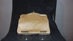 Vintage small Gold Lame Clutch with Gold Hardware and optional chain handle- circa 1960's by CurvyGirlCrafting78 on Etsy