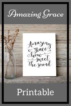 My favorite hymn! Amazing grace sign Printable art print How sweet the sound wall art, Digital verse print decor Black and white wall art HEART OF LIFE Design #afflink #printable #hymn #amazinggrace