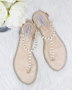 7c824465480eec Women Pearl Wedding Sandals - T-Strap BEIGE Pearl with Rhinestones flat  sandal - brides and bridesmaids flat sandals