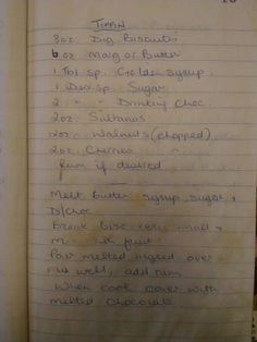 Irene's tiffin recipe  224g/148 digestive biscuits 168g/110 butter 1 tablespoon golden syrup 1 dessert spoon sugar 2 dessert spoon drinking chocolate 56g sultanas 56g walnuts 56g cherries rum if desired  melt butter syrup sugar and drinking chocolate break biscuits as small as possible mix in fruit pour melted mix onto biscuits and mix well when cool cover with melted chocolate