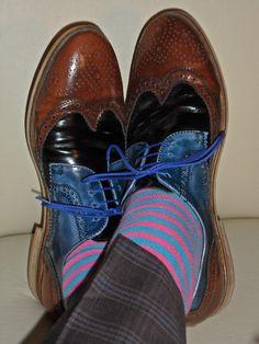 Tri-tone Aldo shoes, striped socks…