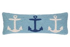 Anchors 11x24 Cotton Pillow, Blue