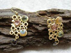 Earrings bubbles artsy stained glass asymmetric w vermeil gold earwires one of a kind OOAK