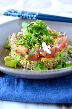 Yellowtail & Tuna Poke Stack w/ Honey Sesame Miso. Make your own sushi at home.