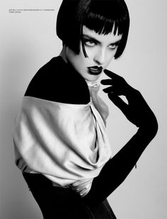 Shot by Raphael Delorme and Thierno Syne for L'Officiel Ukraine.  The scissored bangs are a cute update on a classic Louise Brooks bob.