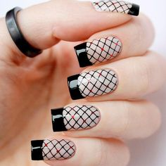 21 Captivating Designs for French Tip Nails ❤ Black Fishnets ❤ French tip na. - 21 Captivating Designs for French Tip Nails ❤ Black Fishnets ❤ French tip nails are timeless an - Best Nail Art Designs, Gel Nail Designs, Sexy Nails, Black Nails, Black Manicure, Metallic Nails, Silver Glitter, Glitter Nails, New Nail Art