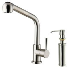 """Vigo One Handle Single Hole Kitchen Faucet with Soap Dispenser and Pull-Out Spray. Retractable spout, expads up to 30"""". 360 degree swivel spout. 13.75"""" faucet height, 8"""" spout reach. $140 (saved $20 w/ trade discount) + tax. Free shipping."""