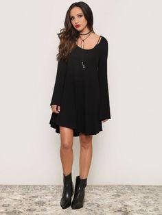 Sabrina Bell Sleeve Dress - Black - Gypsy Warrior