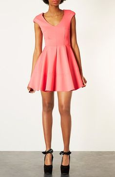 Topshop Rib Pleated Skater Dress available at #Nordstrom