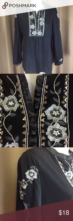 """RXB embroidered top Black cotton knit top with beautiful silver and gray embroidered and metal detail. Satin trim at neck, front and cuff, with satin covered buttons.  Measures 28"""" shoulder to hem, 22"""" across bust front. Size XL fits 12 RXB Tops"""