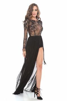 rochie lunga broderie cu body - rochii de seara lungi