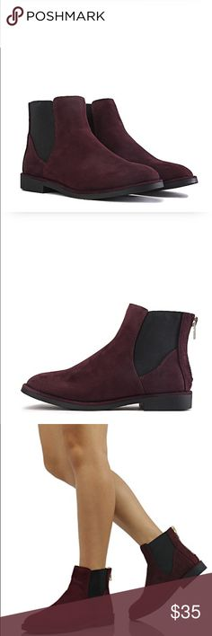 """•Ankle Booties• This ankle boot features a low heel for easy walk in and a sleek and smooth velvet suede upper giving the boot a classic look. Match it off best with a sweater dress and leggings for the ultimate chic and seasonal look/heel height: 1""""/shaft: 4.75""""/opening: 9""""/velvet suede upper/rear zip closure/round toe/durable rubber outsole.                                                 ❌No Trades❌color: burgundy/brand: soda Shoes Ankle Boots & Booties"""