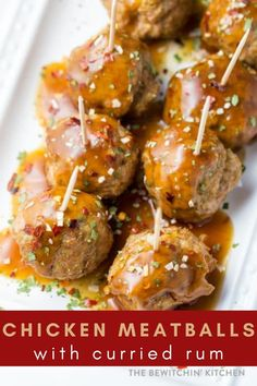 These chicken meatballs will be a sure hit at your next appetizer table! Drizzled with a curried rum sauce, they are slightly spicy and delicious. #chicken #meatballs #appetizer #curry #rum Fun Easy Recipes, Delicious Dinner Recipes, Easy Chicken Recipes, Quick Easy Meals, Beef Recipes, Appetizer Recipes, Vegetarian Recipes, Healthy Recipes, Cheap Recipes