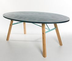 Join: steal tabletop - wooden legs, designed by Breg Hanssen