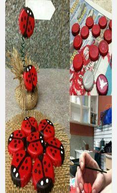 diy bottle cap ladybug na Fotografie - Zszywka. Plastic Bottle Crafts, Bottle Cap Crafts, Diy Bottle, Plastic Caps, Diy Projects To Try, Craft Projects, Recycling Projects, Diy And Crafts, Crafts For Kids