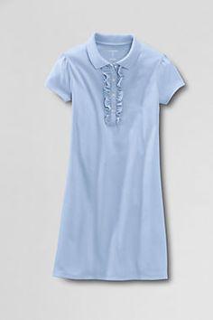 f3b57c67e22 Girls  Short Sleeve Knit Ruffle Front Dress from Lands  End School Uniform  Dress