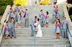 Love the colors... Gray bridesmaids dresses with hot pink accents