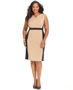 Jones New York Collection Plus Size Dress, Sleeveless Colorblocked Sheath