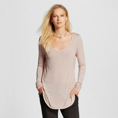 Women's Long Sleeve V-Neck Tee Light Pink Xxl - Mossimo