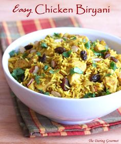 Easy Indian Chicken Biryani / Within less than 30 minutes, you'll have a healthy, wholesome, deliciously aromatic and flavorful meal that your whole family can enjoy.  #chickenrecipe #ricemeal  daringgourmet.com