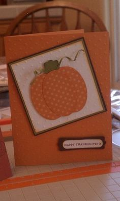 Cute little pumpkin card--Note the vine Hand Made Greeting Cards, Making Greeting Cards, Greeting Cards Handmade, Fall Cards, Xmas Cards, Holiday Cards, Scrapbook Paper Crafts, Scrapbook Cards, Scrapbooking