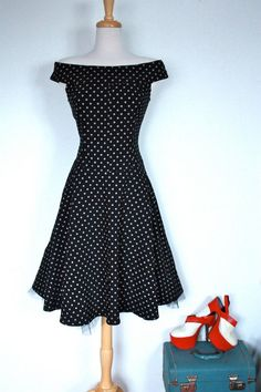 Vintage 1990s does 1950s Polka Dot Rockabilly Dress // Pin Up Day Dress. $59.00, via Etsy.