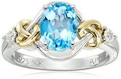 Sterling Silver and 14k Yellow Gold Diamond and Swiss Blue Topaz Love Knot Ring -- Check out this great product.