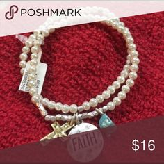 NWT Faith pearl bead stretchable bracelet NWT Faith double strand pearl bead stretchable bracelet with a cross & a turquoise bead. Very pretty for every day to enhance an outfit or just to wear on a special occasion.                         🌟REASONABLE OFFERS ARE ALWAYS CONSIDERED🌟BUNDLE TO SAVE🌟 LifeWay Christian Stores Jewelry Bracelets