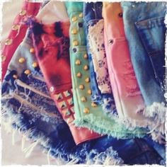 DIY Tie dye shorts with studs