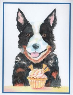 Birthday card of dog with cake Inside of card 1st line Happy
